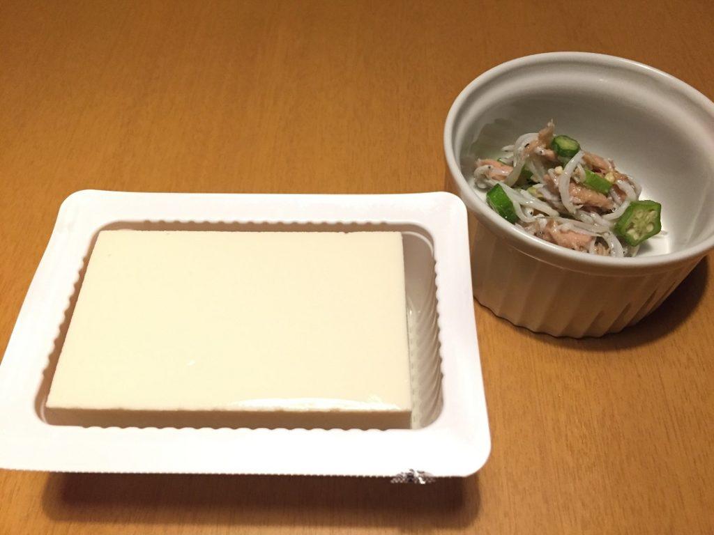 オクラとしらすのツナ和え(今日の豆腐)